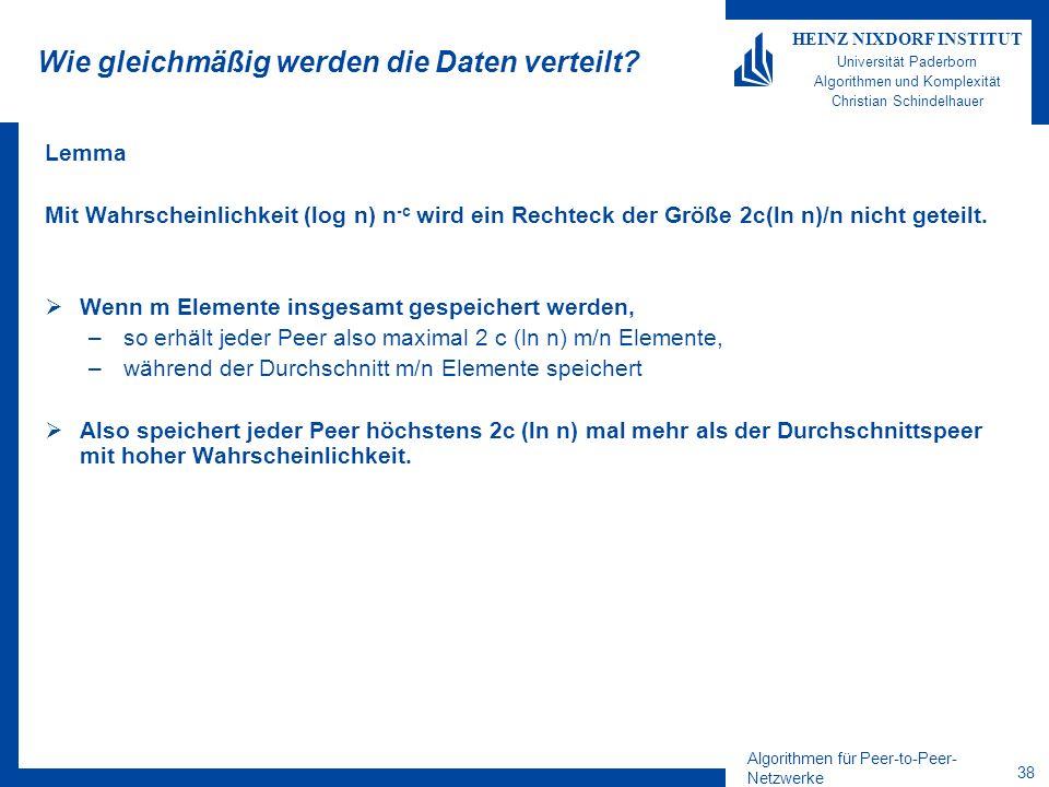 Algorithmen für Peer-to-Peer- Netzwerke 38 HEINZ NIXDORF INSTITUT Universität Paderborn Algorithmen und Komplexität Christian Schindelhauer Wie gleich