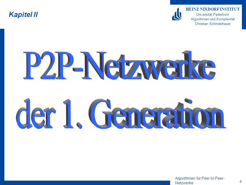 Algorithmen für Peer-to-Peer- Netzwerke 4 HEINZ NIXDORF INSTITUT Universität Paderborn Algorithmen und Komplexität Christian Schindelhauer Kapitel II