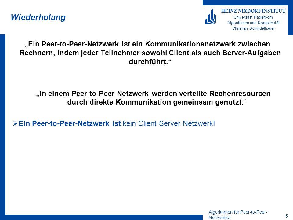 Algorithmen für Peer-to-Peer- Netzwerke 5 HEINZ NIXDORF INSTITUT Universität Paderborn Algorithmen und Komplexität Christian Schindelhauer Wiederholun