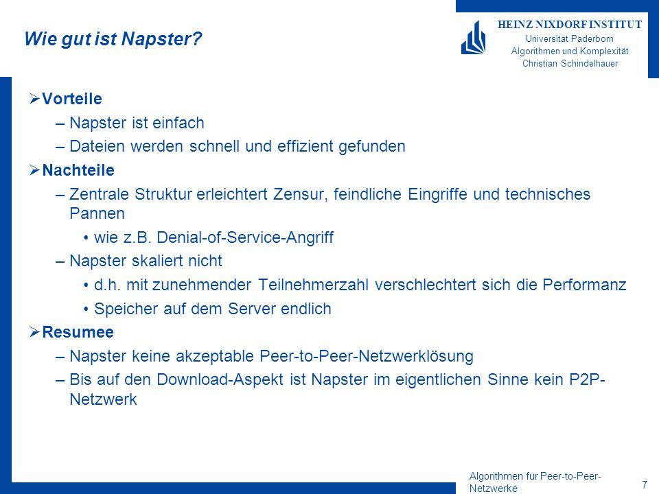 Algorithmen für Peer-to-Peer- Netzwerke 7 HEINZ NIXDORF INSTITUT Universität Paderborn Algorithmen und Komplexität Christian Schindelhauer Wie gut ist