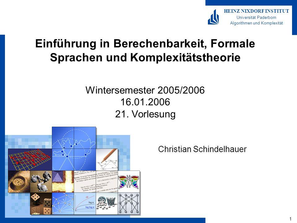 Berechenbarkeit, Formale Sprachen, Komplexitätstheorie 21-12 HEINZ NIXDORF INSTITUT Universität Paderborn Algorithmen und Komplexität Christian Schindelhauer Das Parkett-Problem Definition –Das Parkettproblem ist das Problem, eine gegebene quadratische Fläche mit Parkettstücken verschiedener Form lückenlos abzudecken –Auch bekannt als zweidimensionales Domino-Problem, also: Parkett-Teil S: 4-Tupel (S(1), S(2), S(3), S(4)) mit S(i) {0,1}* H(S,S) := S und S passen horizontal, d.h.
