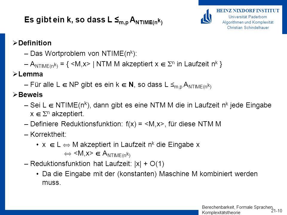 Berechenbarkeit, Formale Sprachen, Komplexitätstheorie 21-10 HEINZ NIXDORF INSTITUT Universität Paderborn Algorithmen und Komplexität Christian Schind
