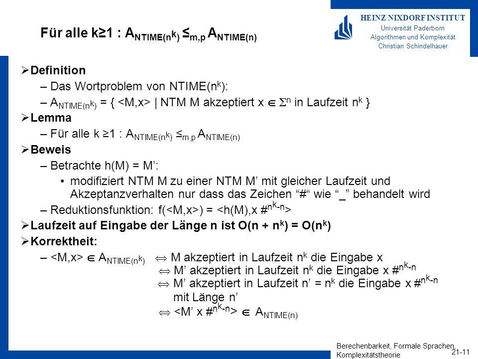 Berechenbarkeit, Formale Sprachen, Komplexitätstheorie 21-11 HEINZ NIXDORF INSTITUT Universität Paderborn Algorithmen und Komplexität Christian Schind