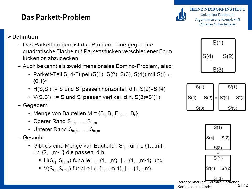 Berechenbarkeit, Formale Sprachen, Komplexitätstheorie 21-12 HEINZ NIXDORF INSTITUT Universität Paderborn Algorithmen und Komplexität Christian Schind