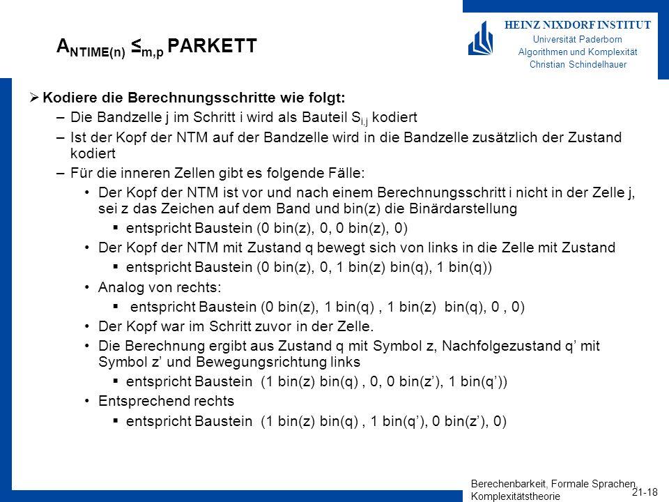 Berechenbarkeit, Formale Sprachen, Komplexitätstheorie 21-18 HEINZ NIXDORF INSTITUT Universität Paderborn Algorithmen und Komplexität Christian Schind