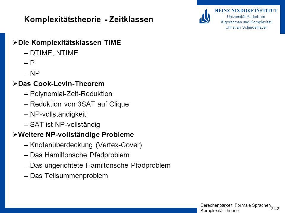 Berechenbarkeit, Formale Sprachen, Komplexitätstheorie 21-2 HEINZ NIXDORF INSTITUT Universität Paderborn Algorithmen und Komplexität Christian Schinde