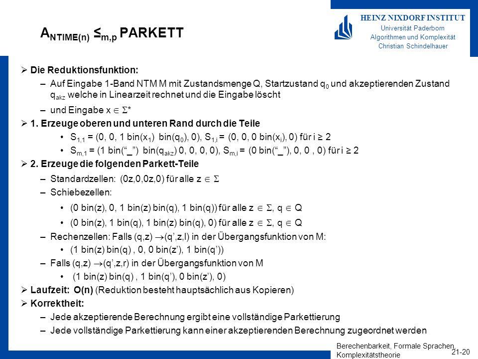 Berechenbarkeit, Formale Sprachen, Komplexitätstheorie 21-20 HEINZ NIXDORF INSTITUT Universität Paderborn Algorithmen und Komplexität Christian Schind