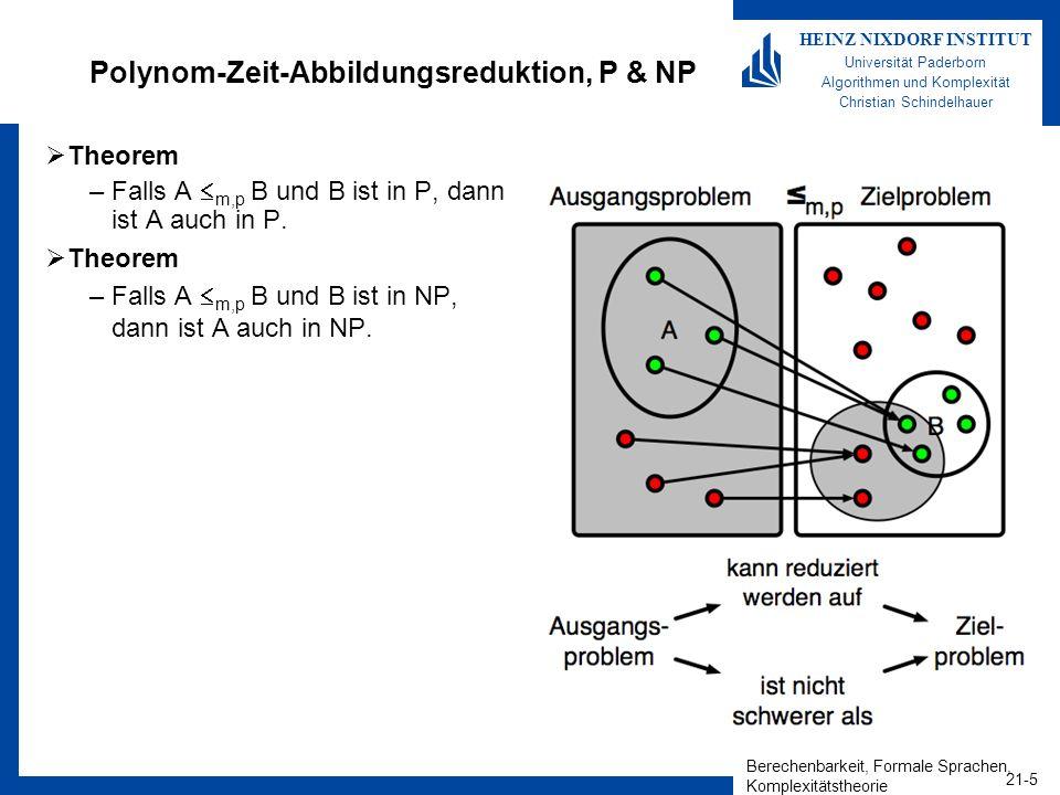 Berechenbarkeit, Formale Sprachen, Komplexitätstheorie 21-6 HEINZ NIXDORF INSTITUT Universität Paderborn Algorithmen und Komplexität Christian Schindelhauer Besondere Boolesche Funktionen Literal: –ist eine einfache oder negierte Variable –z.B.: x, y, z, ¬x, ¬y, ¬z Klausel: –ist eine Disjunktion von Literalen –z.B.: x y, z ¬x ¬y, x ¬z Konjunktive Normalform (CNF) –Konjunktion von Klauseln –z.B.: (x y) (z ¬x ¬y) (x ¬z) k-konjunktive Normalform (k-CNF) –Konjunktion von Klauseln aus k Literalen, z.B.