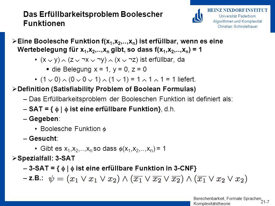Berechenbarkeit, Formale Sprachen, Komplexitätstheorie 21-7 HEINZ NIXDORF INSTITUT Universität Paderborn Algorithmen und Komplexität Christian Schinde