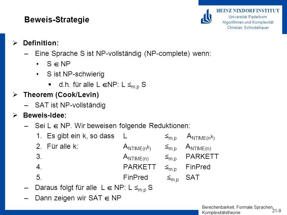 Berechenbarkeit, Formale Sprachen, Komplexitätstheorie 21-10 HEINZ NIXDORF INSTITUT Universität Paderborn Algorithmen und Komplexität Christian Schindelhauer Es gibt ein k, so dass L m,p A NTIME(n k ) Definition –Das Wortproblem von NTIME(n k ): –A NTIME(n k ) = { | NTM M akzeptiert x n in Laufzeit n k } Lemma –Für alle L NP gibt es ein k N, so dass L m,p A NTIME(n k ) Beweis –Sei L NTIME(n k ), dann gibt es eine NTM M die in Laufzeit n k jede Eingabe x n akzeptiert.