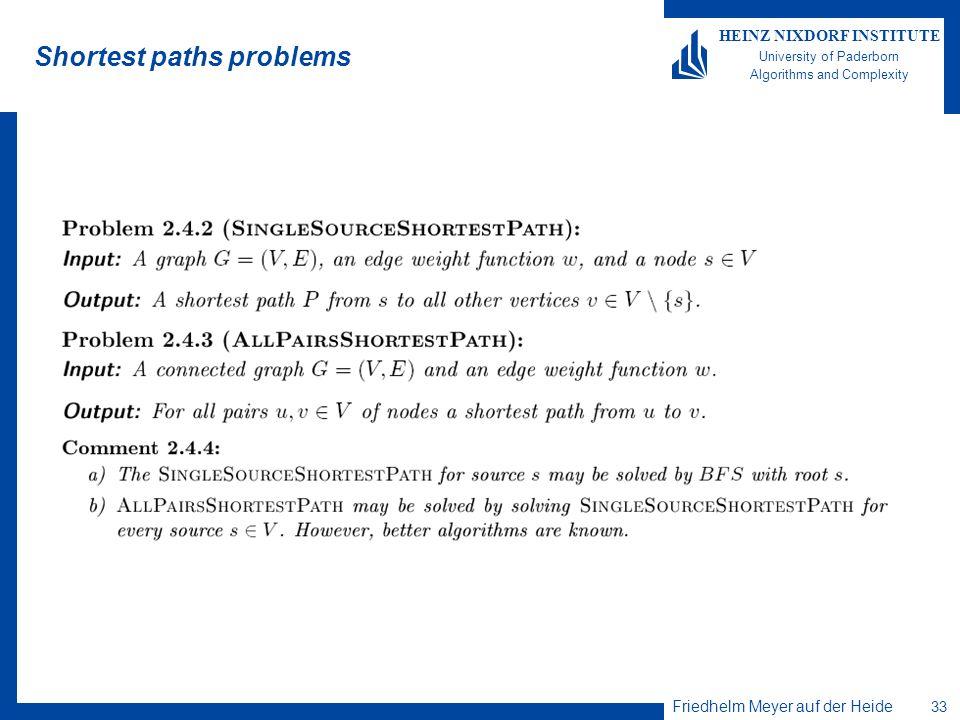 Friedhelm Meyer auf der Heide 33 HEINZ NIXDORF INSTITUTE University of Paderborn Algorithms and Complexity Shortest paths problems