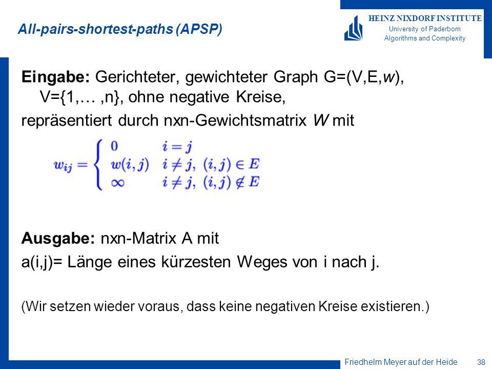 Friedhelm Meyer auf der Heide 38 HEINZ NIXDORF INSTITUTE University of Paderborn Algorithms and Complexity All-pairs-shortest-paths (APSP) Eingabe: Ge