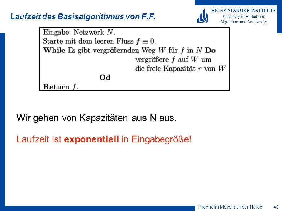 Friedhelm Meyer auf der Heide 46 HEINZ NIXDORF INSTITUTE University of Paderborn Algorithms and Complexity Laufzeit des Basisalgorithmus von F.F. Wir