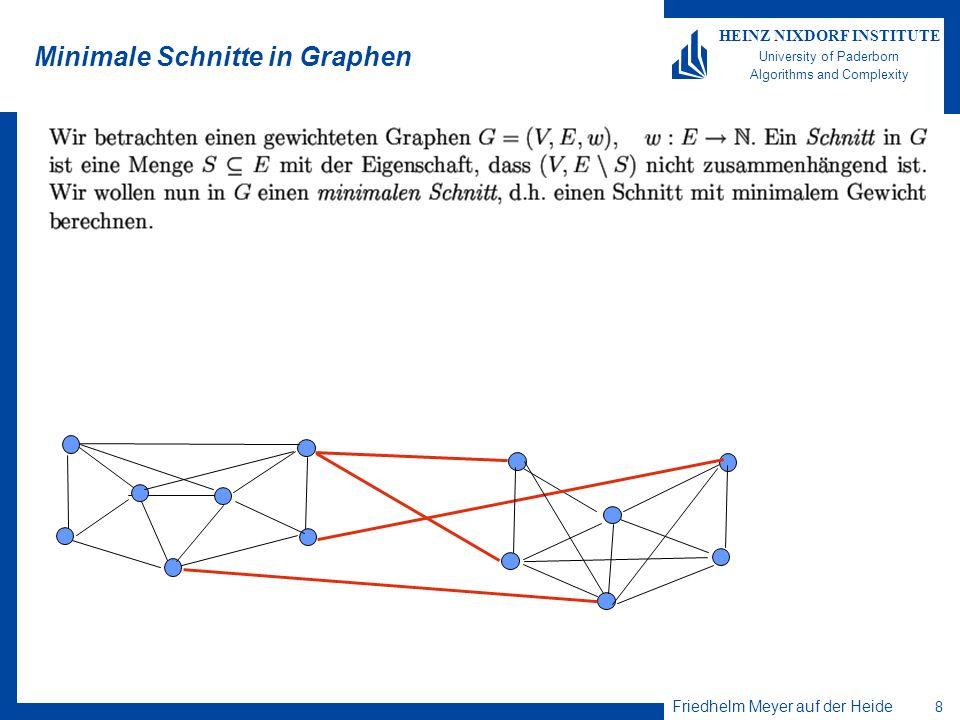 Friedhelm Meyer auf der Heide 8 HEINZ NIXDORF INSTITUTE University of Paderborn Algorithms and Complexity Minimale Schnitte in Graphen