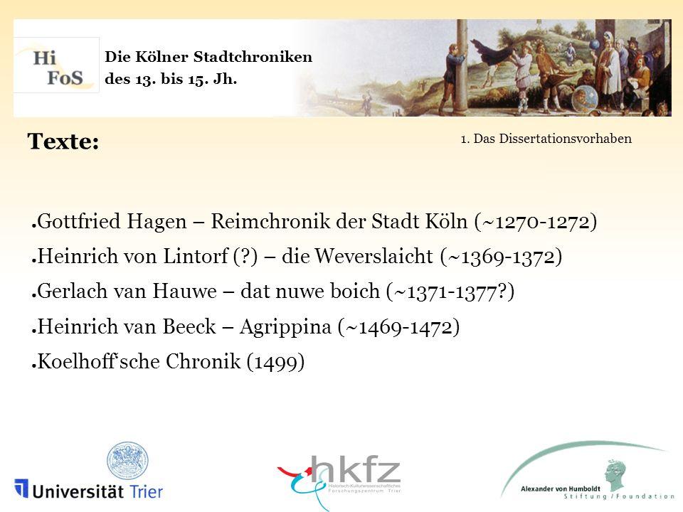 Die Kölner Stadtchroniken des 13. bis 15. Jh. Texte: 1. Das Dissertationsvorhaben Gottfried Hagen – Reimchronik der Stadt Köln (~1270-1272) Heinrich v
