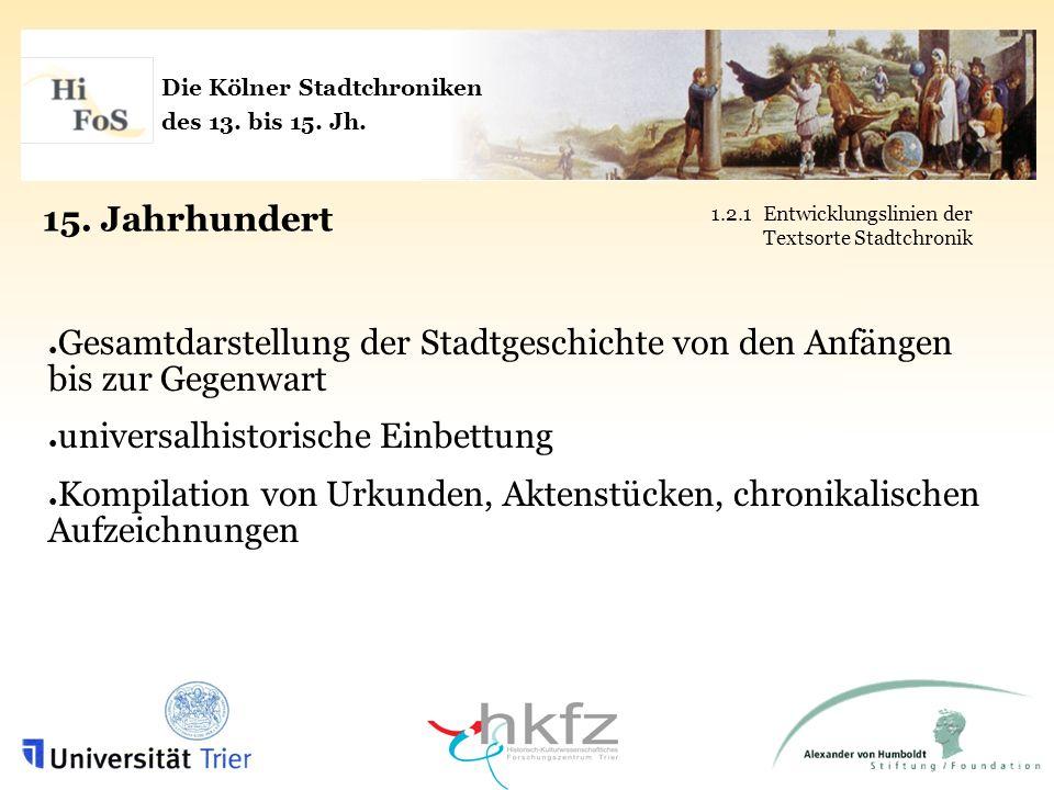 Die Kölner Stadtchroniken des 13. bis 15. Jh. 15. Jahrhundert 1.2.1Entwicklungslinien der Textsorte Stadtchronik Gesamtdarstellung der Stadtgeschichte