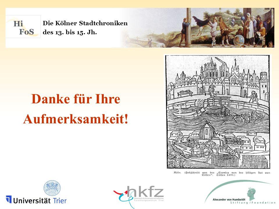 Die Kölner Stadtchroniken des 13. bis 15. Jh. Danke für Ihre Aufmerksamkeit!