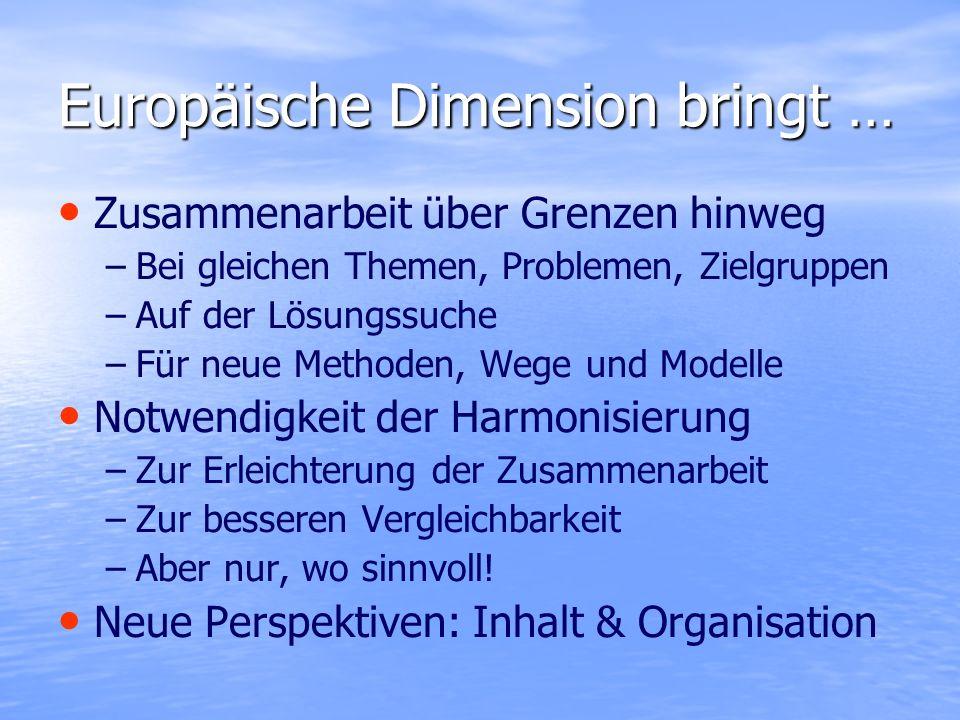 Europäische Dimension bringt … Zusammenarbeit über Grenzen hinweg – –Bei gleichen Themen, Problemen, Zielgruppen – –Auf der Lösungssuche – –Für neue M