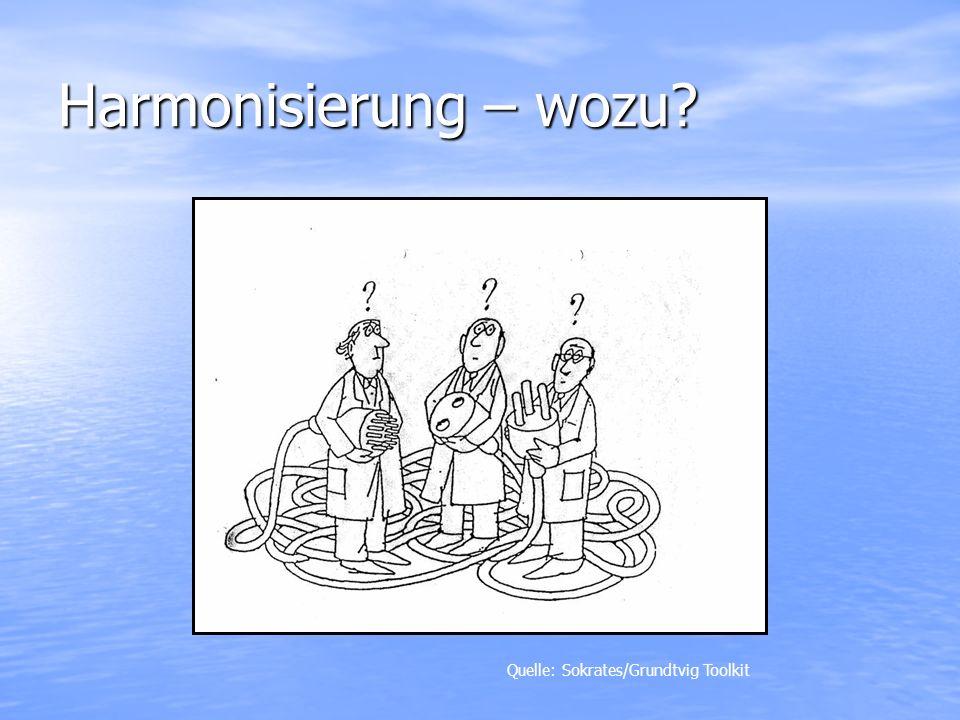 Harmonisierung – wozu? Quelle: Sokrates/Grundtvig Toolkit
