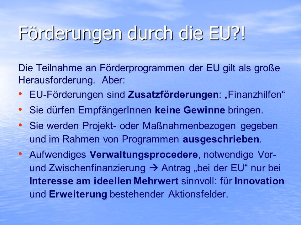 Förderungen durch die EU?! Die Teilnahme an Förderprogrammen der EU gilt als große Herausforderung. Aber: EU-Förderungen sind Zusatzförderungen: Finan