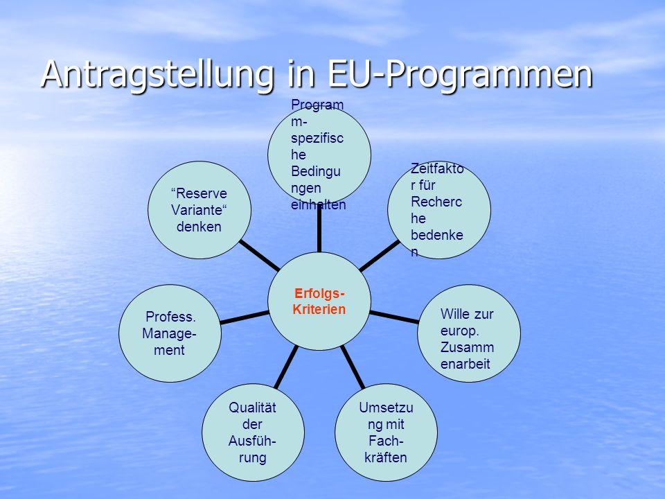 Antragstellung in EU-Programmen Erfolgs- Kriterien Programm- spezifische Bedingungen einhalten Zeitfaktor für Recherche bedenken Wille zur europ. Zusa