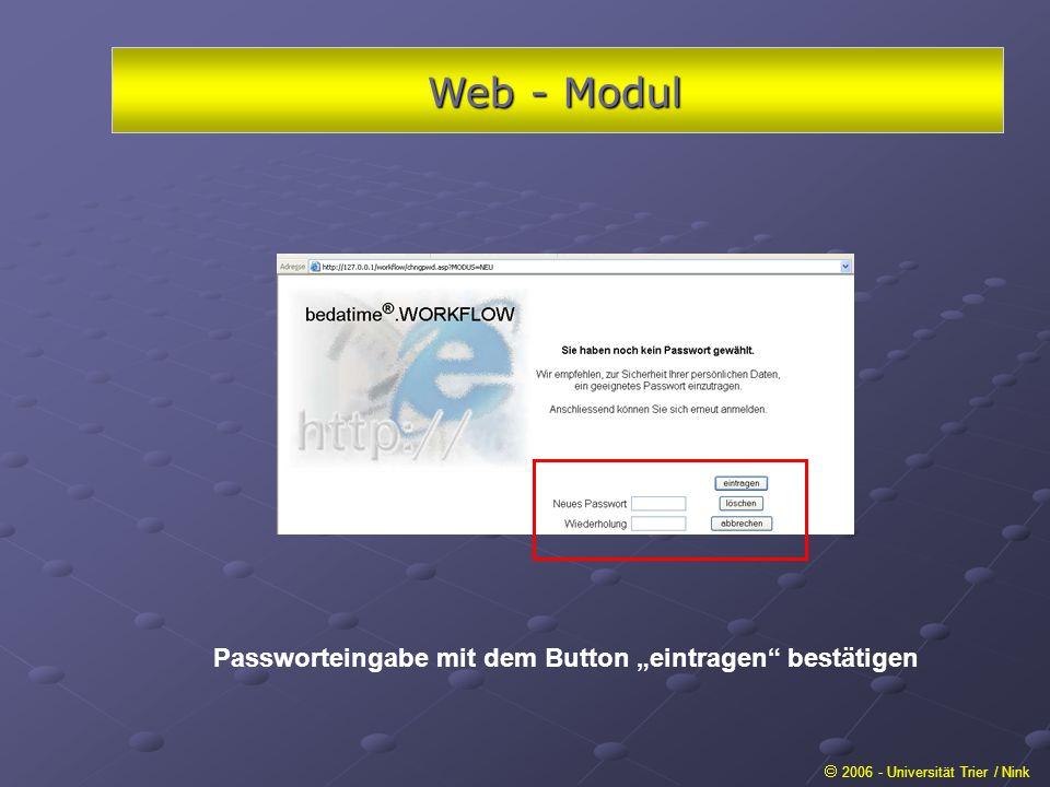 Web - Modul 2006 - Universität Trier / Nink Passworteingabe mit dem Button eintragen bestätigen