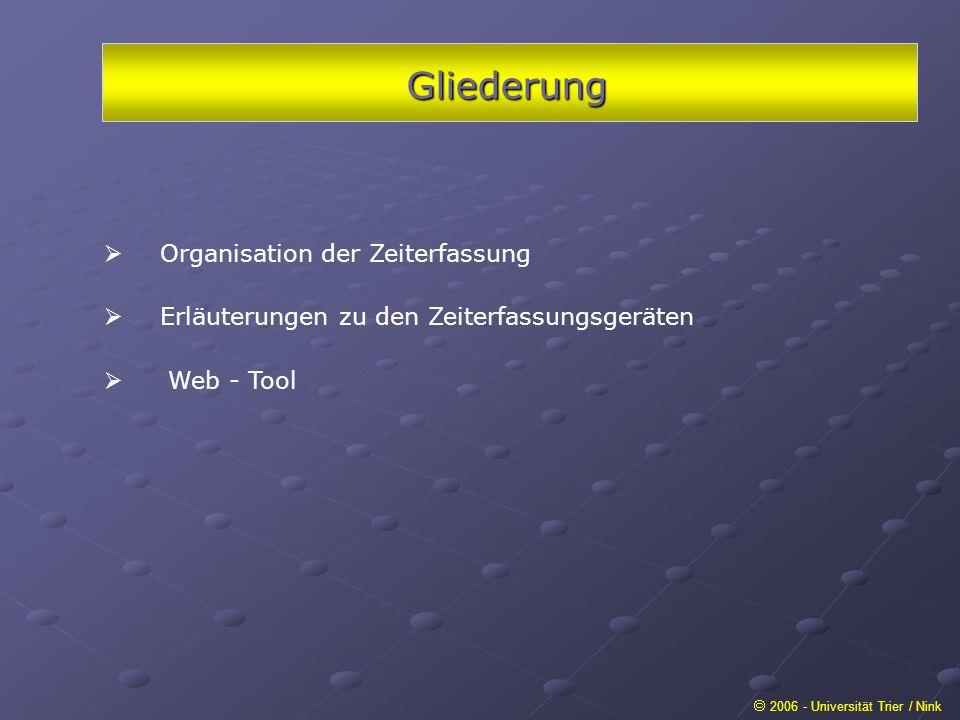 Gliederung 2006 - Universität Trier / Nink Organisation der Zeiterfassung Erläuterungen zu den Zeiterfassungsgeräten Web - Tool