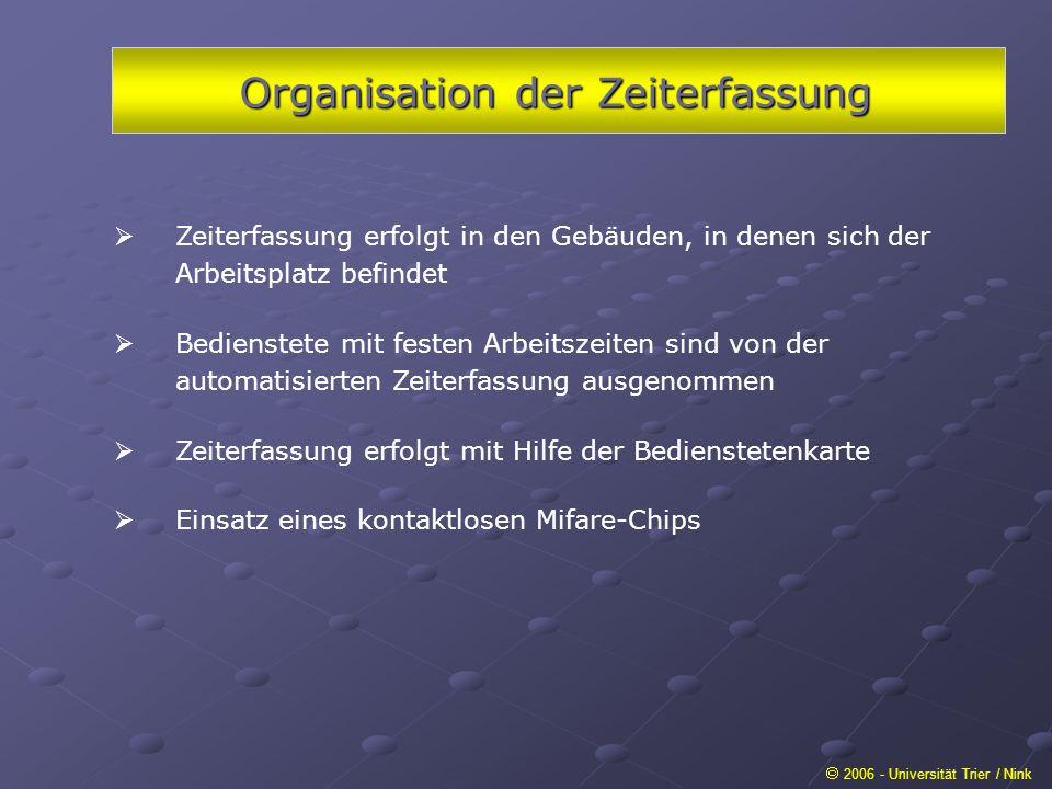 Organisation der Zeiterfassung 2006 - Universität Trier / Nink Zeiterfassung erfolgt in den Gebäuden, in denen sich der Arbeitsplatz befindet Bedienst
