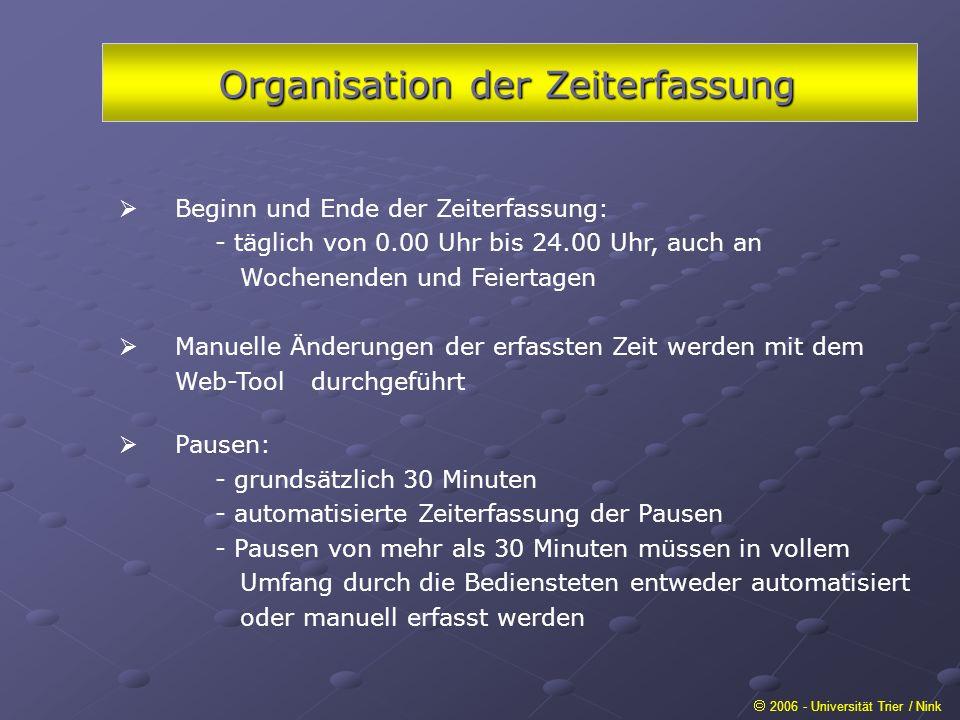 Organisation der Zeiterfassung 2006 - Universität Trier / Nink Beginn und Ende der Zeiterfassung: - täglich von 0.00 Uhr bis 24.00 Uhr, auch an Wochen
