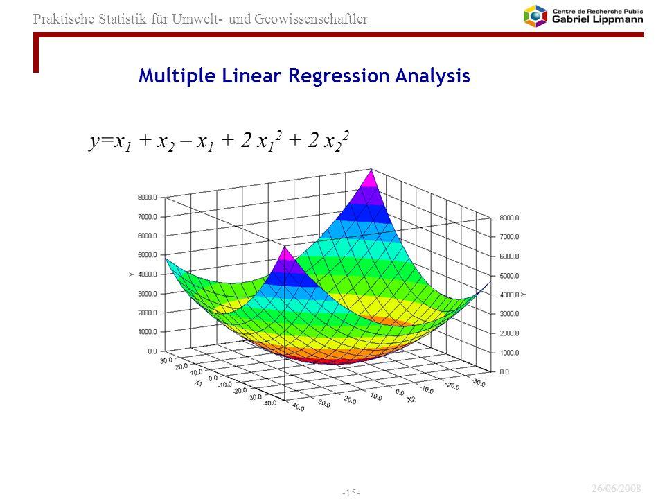 26/06/2008 -15- Praktische Statistik für Umwelt- und Geowissenschaftler y=x 1 + x 2 – x 1 + 2 x 1 2 + 2 x 2 2 Multiple Linear Regression Analysis