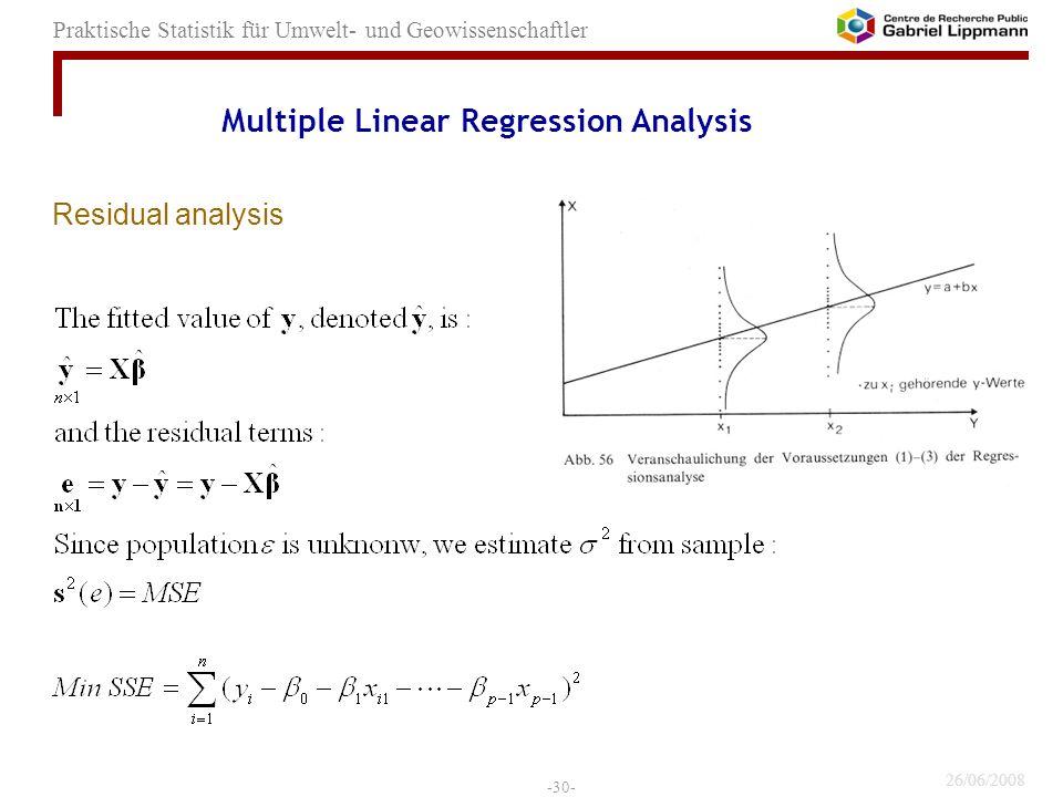 26/06/2008 -30- Praktische Statistik für Umwelt- und Geowissenschaftler Residual analysis Multiple Linear Regression Analysis