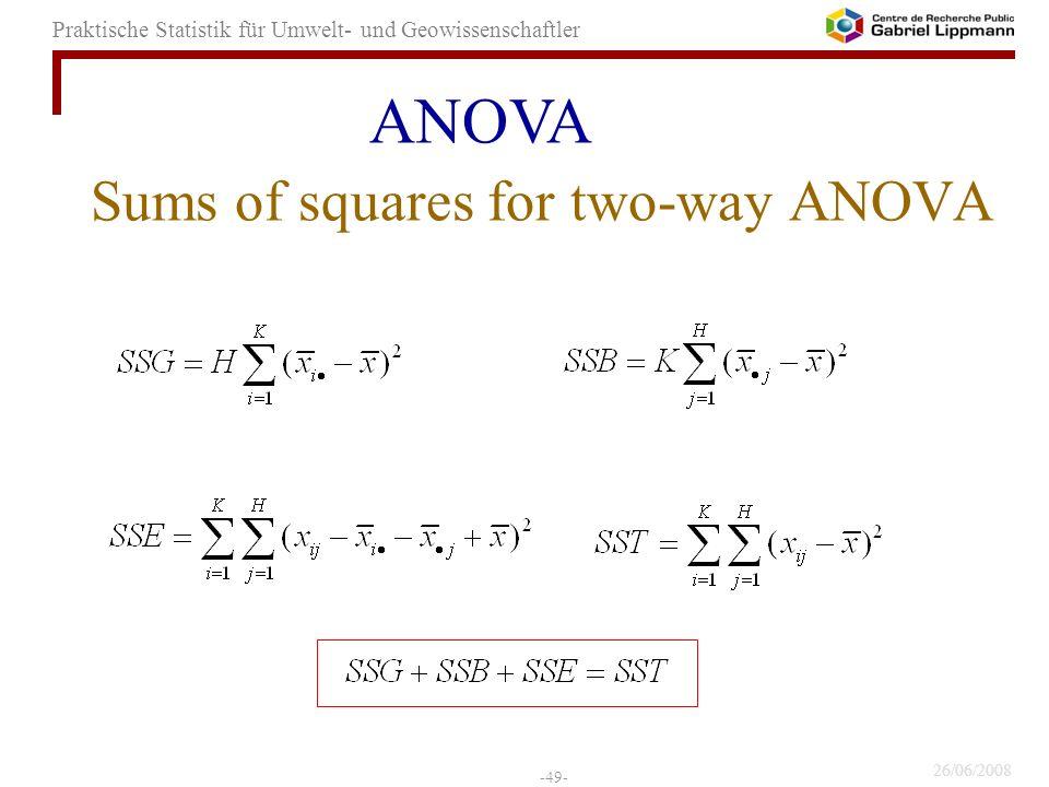 26/06/2008 -49- Praktische Statistik für Umwelt- und Geowissenschaftler Sums of squares for two-way ANOVA ANOVA