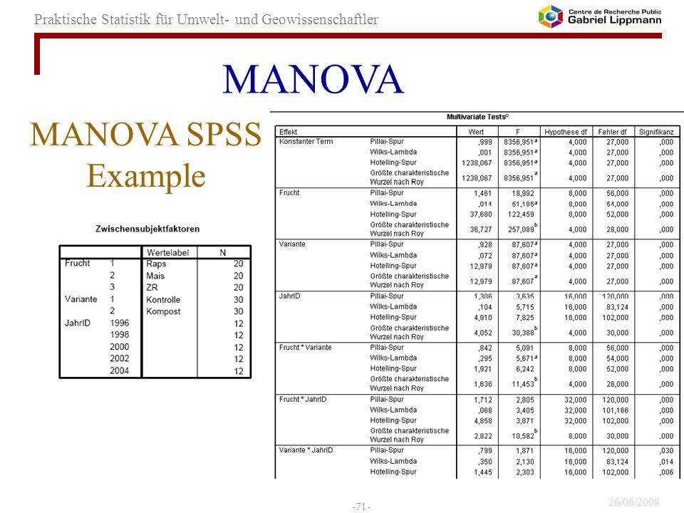 26/06/2008 -71- Praktische Statistik für Umwelt- und Geowissenschaftler MANOVA SPSS Example MANOVA