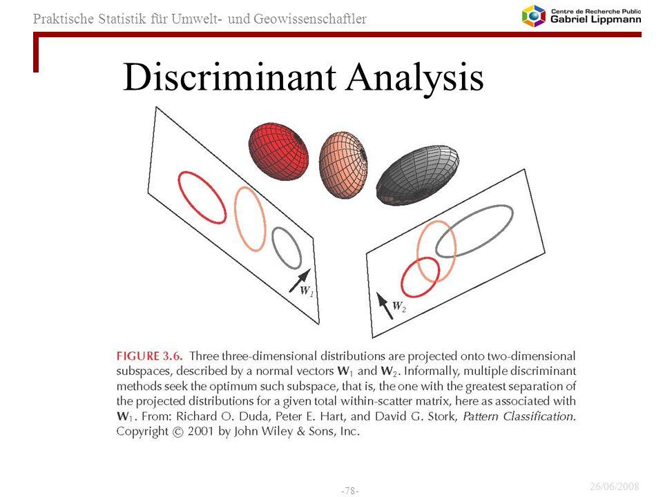 26/06/2008 -78- Praktische Statistik für Umwelt- und Geowissenschaftler Discriminant Analysis