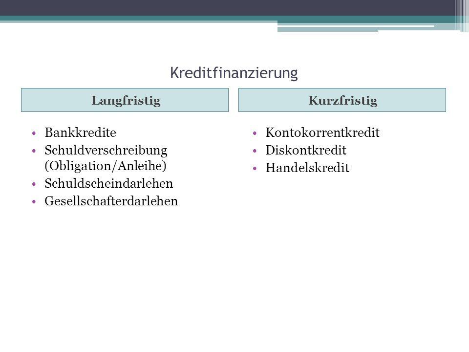 Kreditfinanzierung LangfristigKurzfristig Bankkredite Schuldverschreibung (Obligation/Anleihe) Schuldscheindarlehen Gesellschafterdarlehen Kontokorren