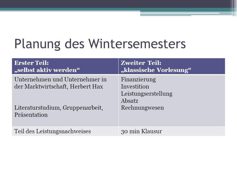 Planung des Wintersemesters Erster Teil: selbst aktiv werden Zweiter Teil: klassische Vorlesung Unternehmen und Unternehmer in der Marktwirtschaft, He