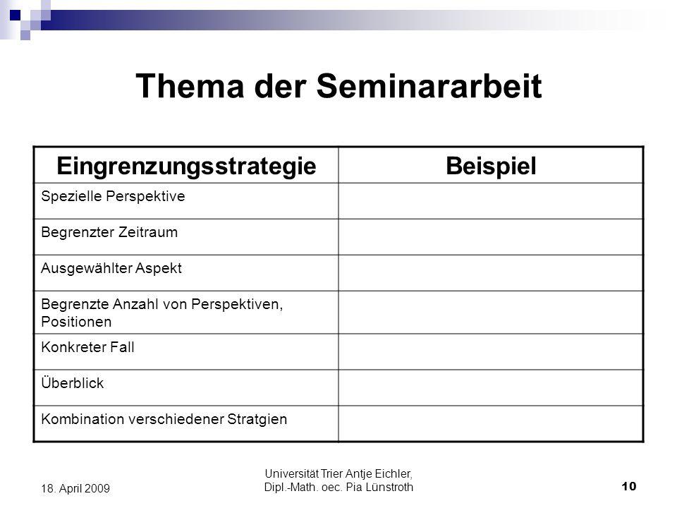 Universität Trier Antje Eichler, Dipl.-Math. oec. Pia Lünstroth10 18. April 2009 Thema der Seminararbeit EingrenzungsstrategieBeispiel Spezielle Persp