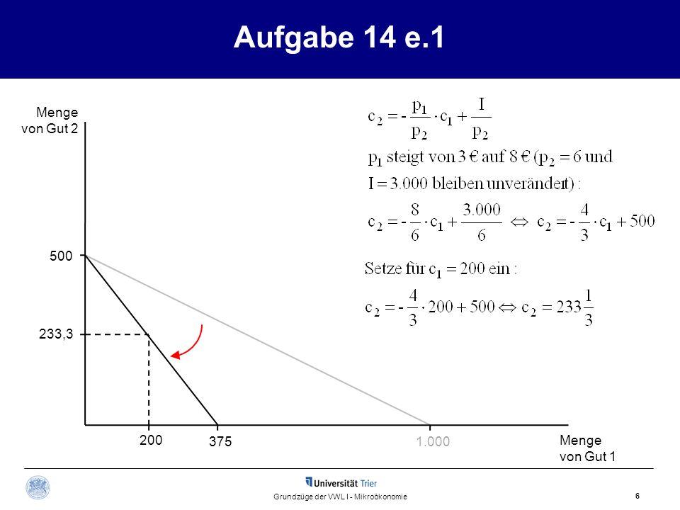 Aufgabe 14 e.1 Menge von Gut 2 Menge von Gut 1 6 Grundzüge der VWL I - Mikroökonomie 500 1.000375 233,3 200