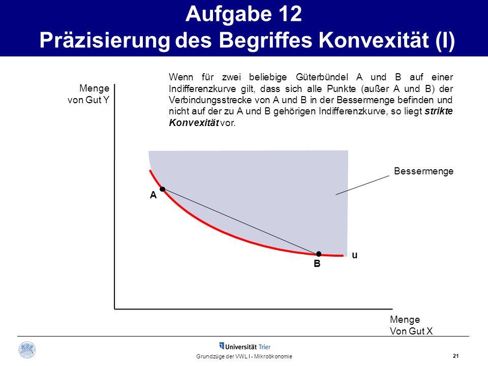 Aufgabe 12 Präzisierung des Begriffes Konvexität (I) 21 Grundzüge der VWL I - Mikroökonomie Menge von Gut Y Menge Von Gut X Bessermenge A B Wenn für z