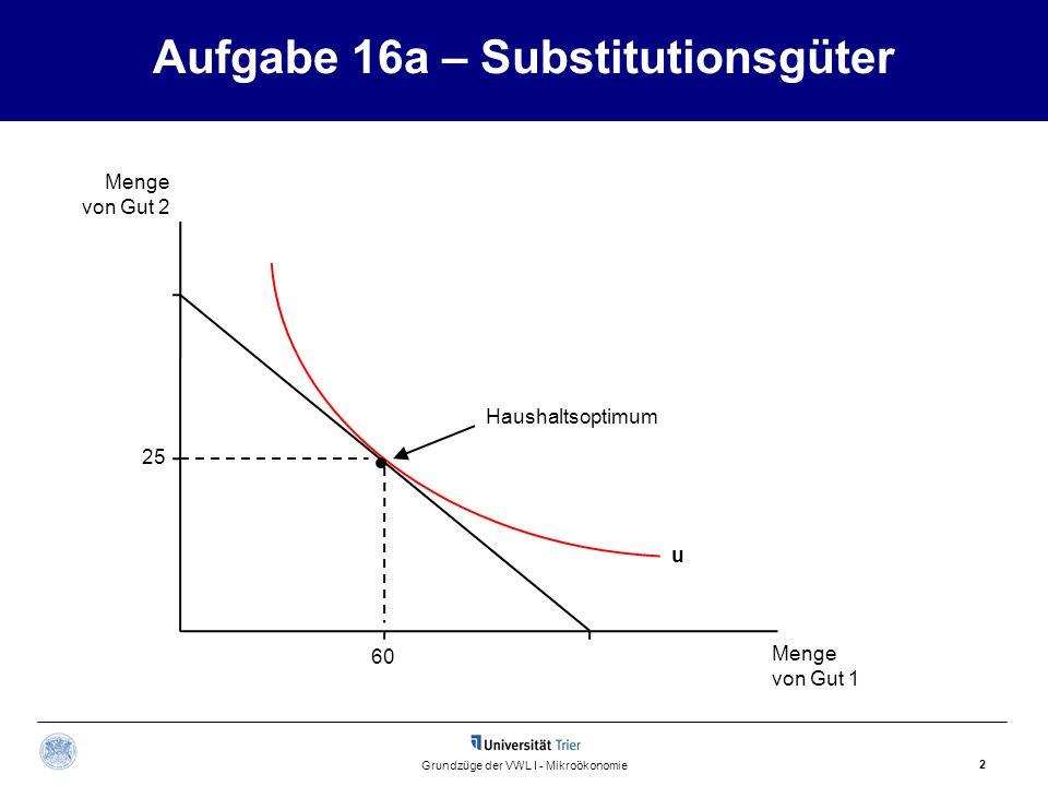 D Aufgabe 16b – Komplementärgüter Lösungsansatz Menge von Gut 2 Menge von Gut 1 3 Grundzüge der VWL I - Mikroökonomie h C B A Budgetgerade Die Steigung der Geraden h gibt das Verhältnis an, in dem die Komplemente konsumiert werden.