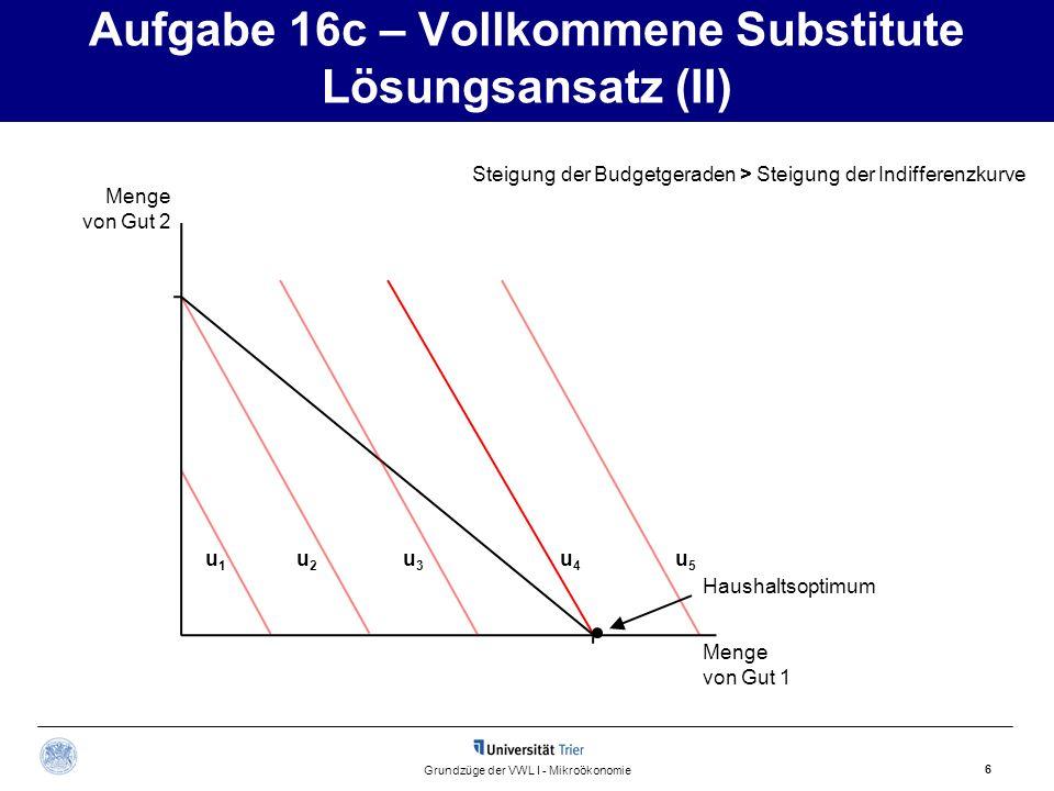 Aufgabe 16c – Vollkommene Substitute Lösungsansatz (III) 7 Grundzüge der VWL I - Mikroökonomie Menge von Gut 2 Menge von Gut 1 Steigung der Budgetgeraden = Steigung der Indifferenzkurve u 3 u 2 u 1