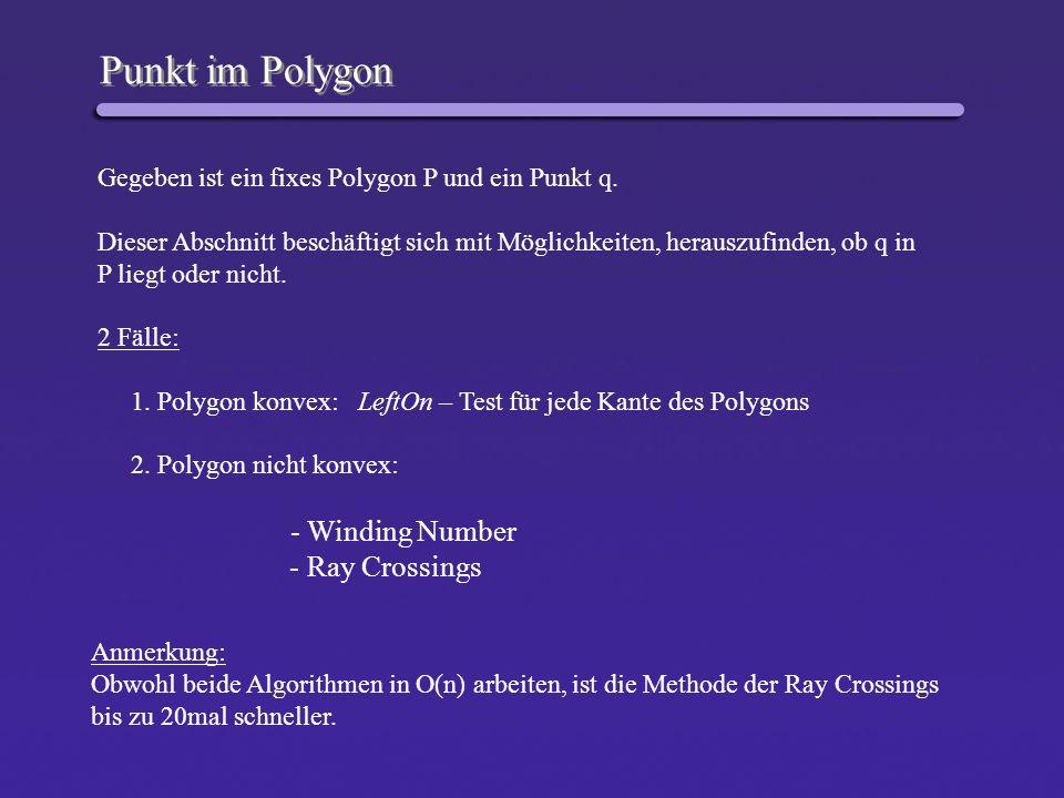 Punkt im Polygon Gegeben ist ein fixes Polygon P und ein Punkt q. Dieser Abschnitt beschäftigt sich mit Möglichkeiten, herauszufinden, ob q in P liegt