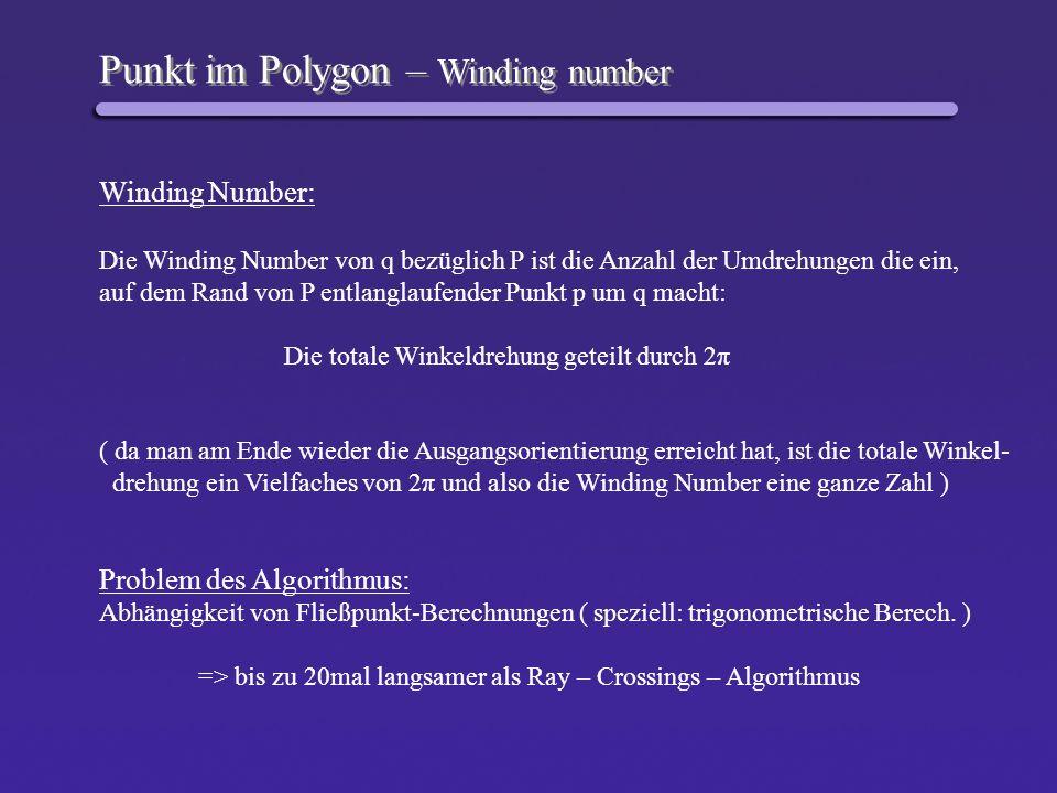 Punkt im Polygon – Winding number Winding Number: Die Winding Number von q bezüglich P ist die Anzahl der Umdrehungen die ein, auf dem Rand von P entl