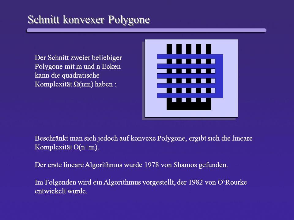 Schnitt konvexer Polygone Der Schnitt zweier beliebiger Polygone mit m und n Ecken kann die quadratische Komplexität Ω(nm) haben : Beschränkt man sich