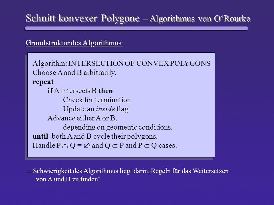 Schnitt konvexer Polygone – Algorithmus von ORourke Grundstruktur des Algorithmus: Algorithm: INTERSECTION OF CONVEX POLYGONS Choose A and B arbitrari