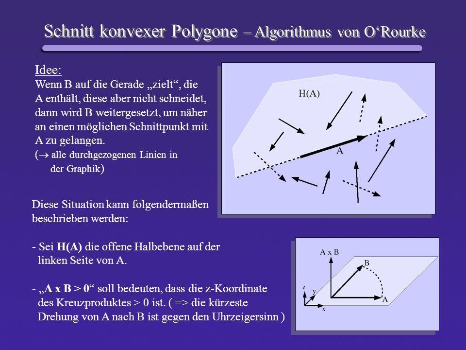 Schnitt konvexer Polygone – Algorithmus von ORourke Idee: Wenn B auf die Gerade zielt, die A enthält, diese aber nicht schneidet, dann wird B weiterge