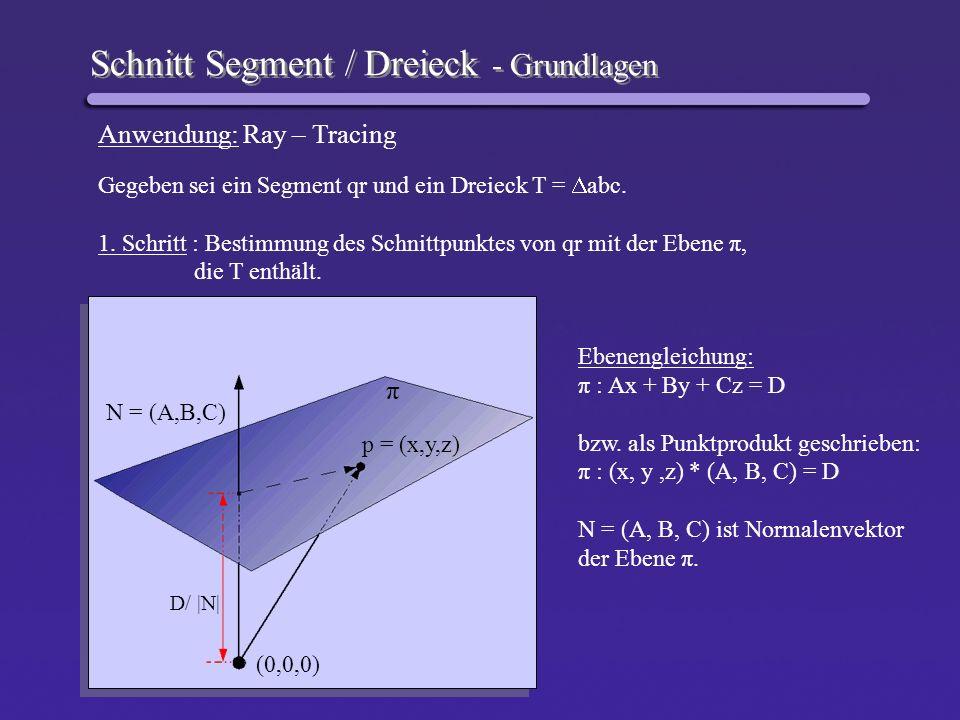 Schnitt Segment / Dreieck – Schnitt Segment/Ebene Wie auch im Zweidimensionalen kann jeder Punkt p auf dem Segment qr durch die Gleichung p(t) = q + t * (r – q) ( t [0,1]) dargestellt werden.