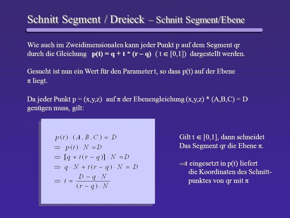 Schnitt Segment / Dreieck – Schnitt Segment/Ebene Wie auch im Zweidimensionalen kann jeder Punkt p auf dem Segment qr durch die Gleichung p(t) = q + t