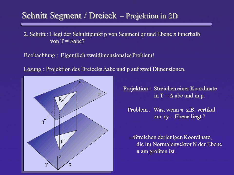 Schnitt Segment / Dreieck – Projektion in 2D 2. Schritt : Liegt der Schnittpunkt p von Segment qr und Ebene π innerhalb von T = abc? Beobachtung : Eig