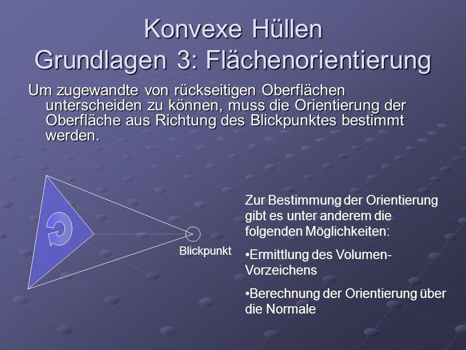 Konvexe Hüllen Grundlagen 3: Flächenorientierung Um zugewandte von rückseitigen Oberflächen unterscheiden zu können, muss die Orientierung der Oberflä